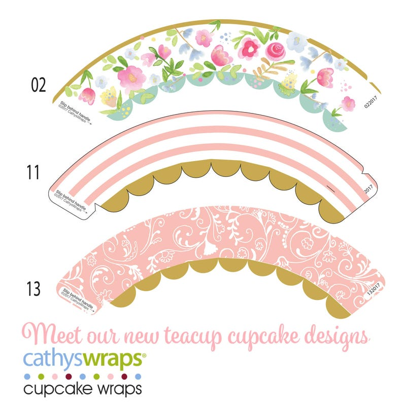 Tea Cup Cupcake Wraps. Tea Party Cupcakes in Pink & Watercolor image 0