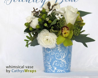 6 Serenity Blue VASES for Tea Party, Baby, Bridal, Shower, Baptism Centerpieces. Polka Dot & Damask Flower Pots. Table Decorations + Favors