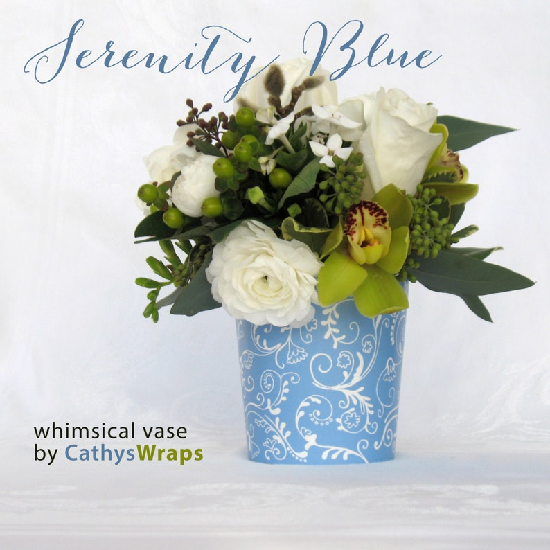 6 Serenity Blue VASES for Tea Party Baby Bridal Shower image 0