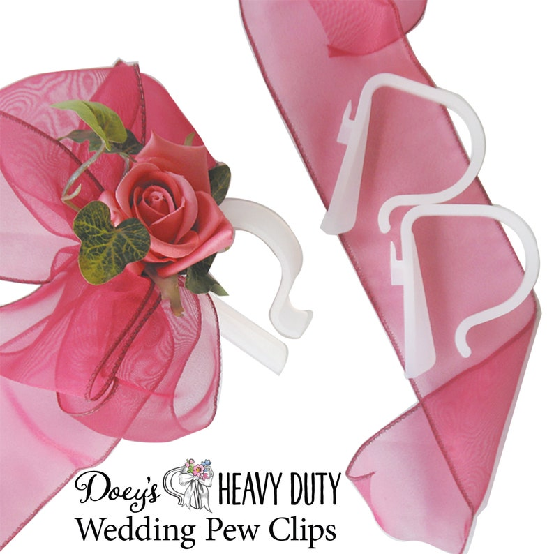 Church Pew Clips Aisle Marker Bows & Decorations  Set of 12 image 0