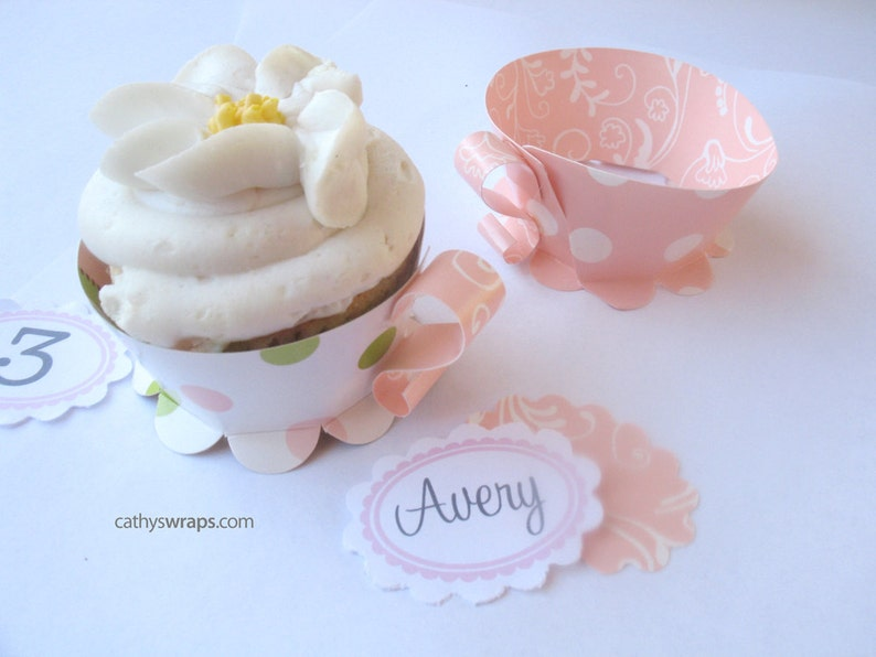 12 Tea Cup Cupcake Wraps Tea Party Decorations  Birthday image 0