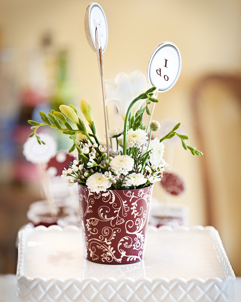 Marsala Red Flower Vase Pot Holiday Party Decoration Bridal image 0