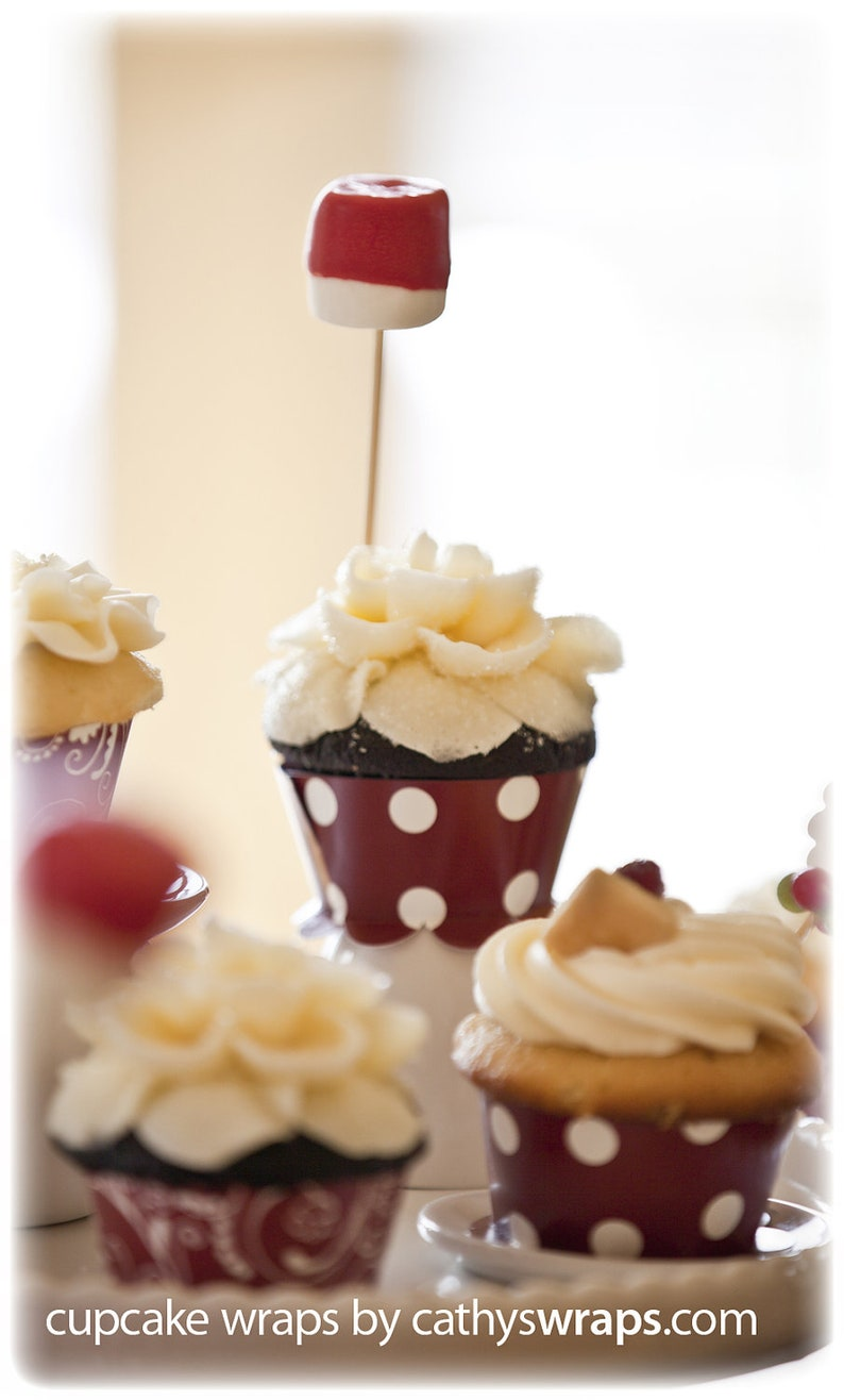 Valentines Day Party Decorations  Red Cupcake Wraps. Polka image 0