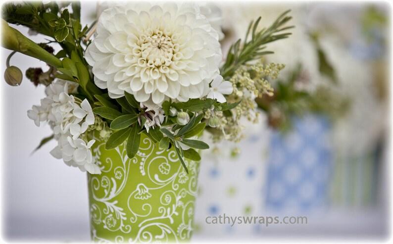 6 Polka Dot Stripe & Damask Flower Vases Flower Pots  Table image 0