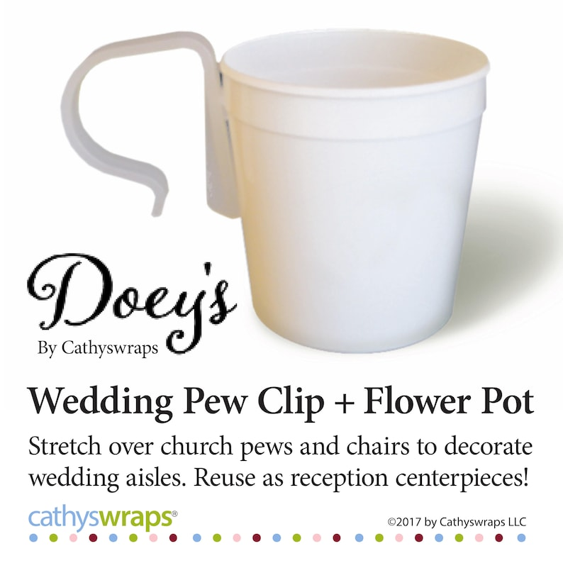 Wedding Pew Clips  Flower Pots Attach to pews to hang Wedding image 0