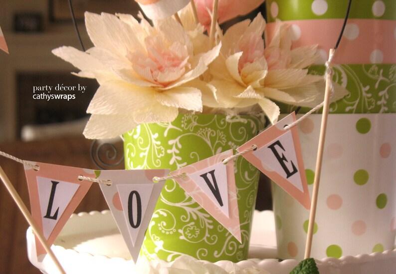 Polka Dot / Damask Centerpiece Decorations  Pink Green image 0