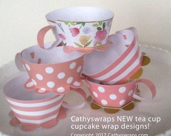 Pink Polka Dot Tea Cup Cupcake Wraps - DIY Tea Party Decoration & Favor - Polka Dot, Damask, Original Watercolor Floral, Stripes - Set of 24
