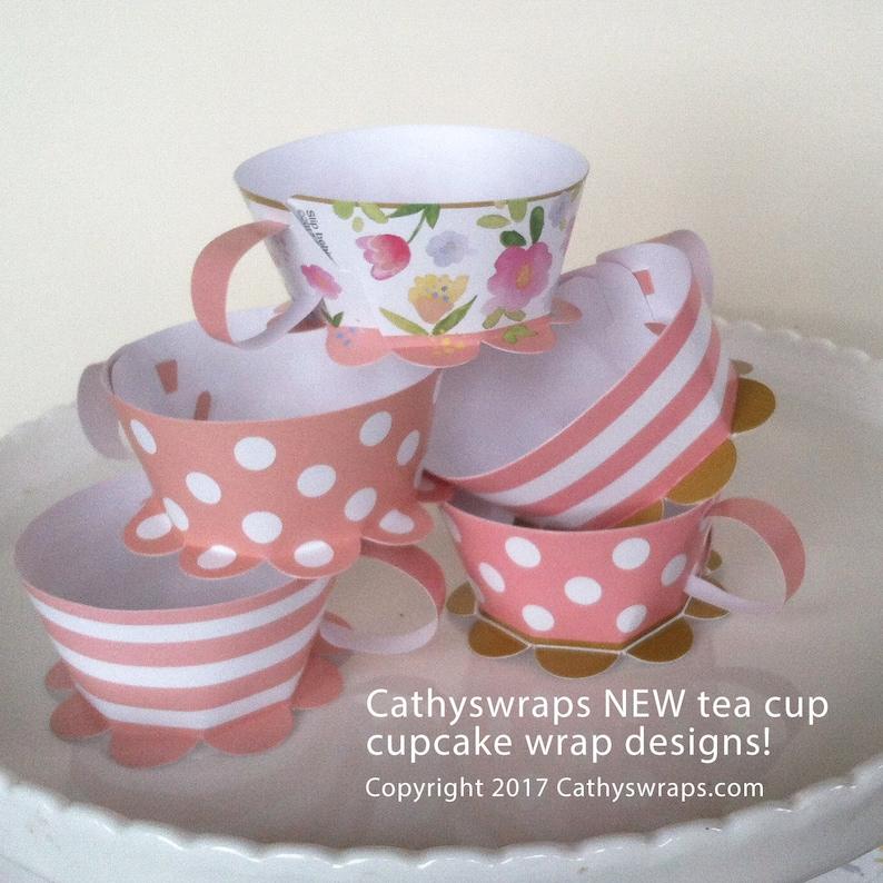 Pink Polka Dot Tea Cup Cupcake Wraps  DIY Tea Party image 0