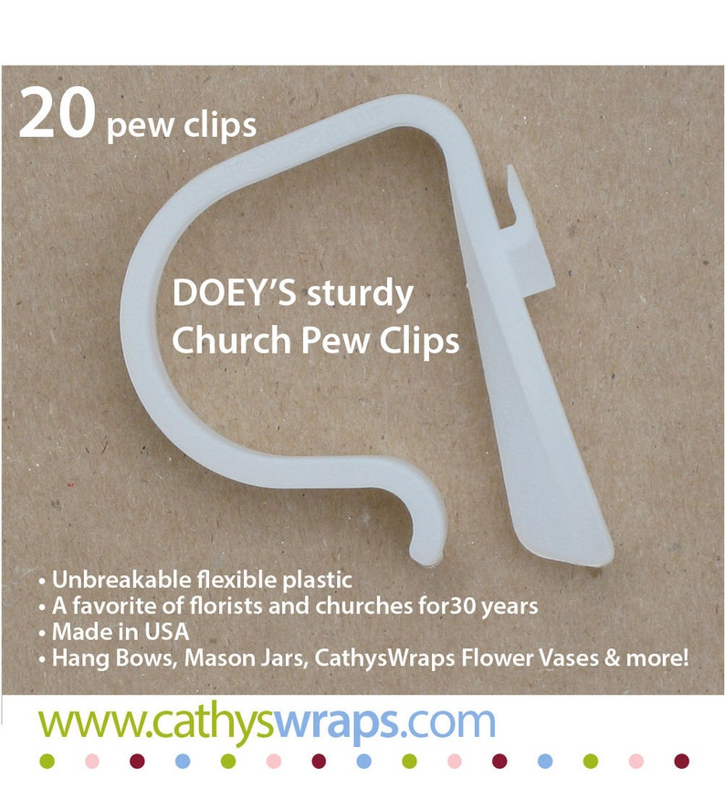 20 Doeys STRONG Pew Clips hang and secure pew decorations image 0