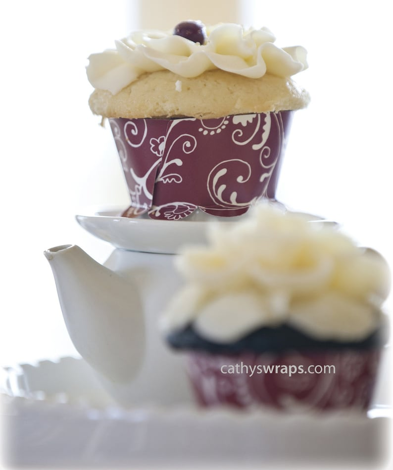Red Tea Party Tea Cups & Cupcake Wraps Reversible Polka Dot  image 0