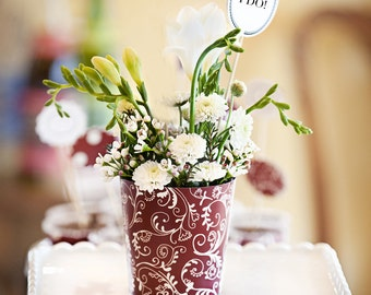 6 Burgundy Red Flower Vases for Bridal Showers and Wedding Centerpieces. Add Gift Tag to make Party Favors!