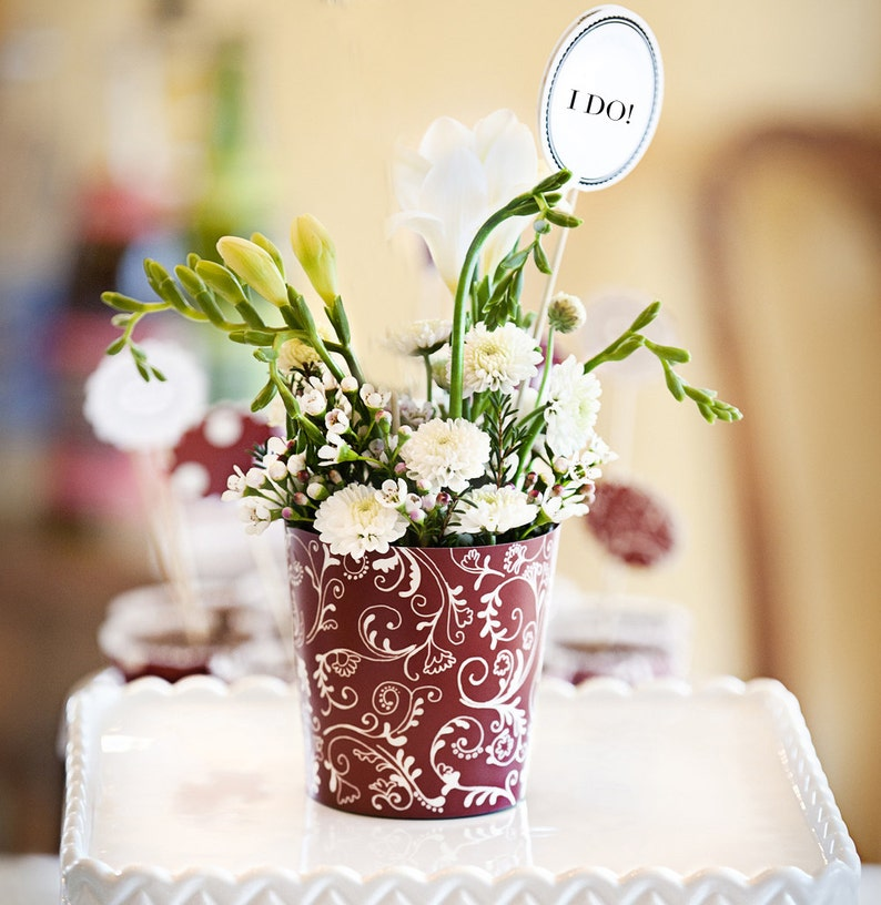 6 Burgundy Red Flower Vases for Bridal Showers and Wedding image 0