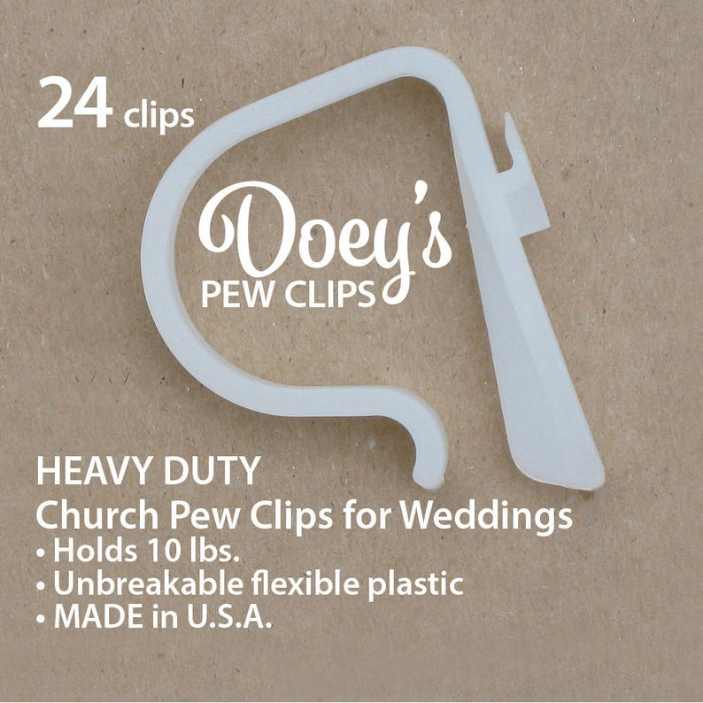Doey's HEAVY DUTY Pew Clips  Attach Elegant Wedding Aisle image 0