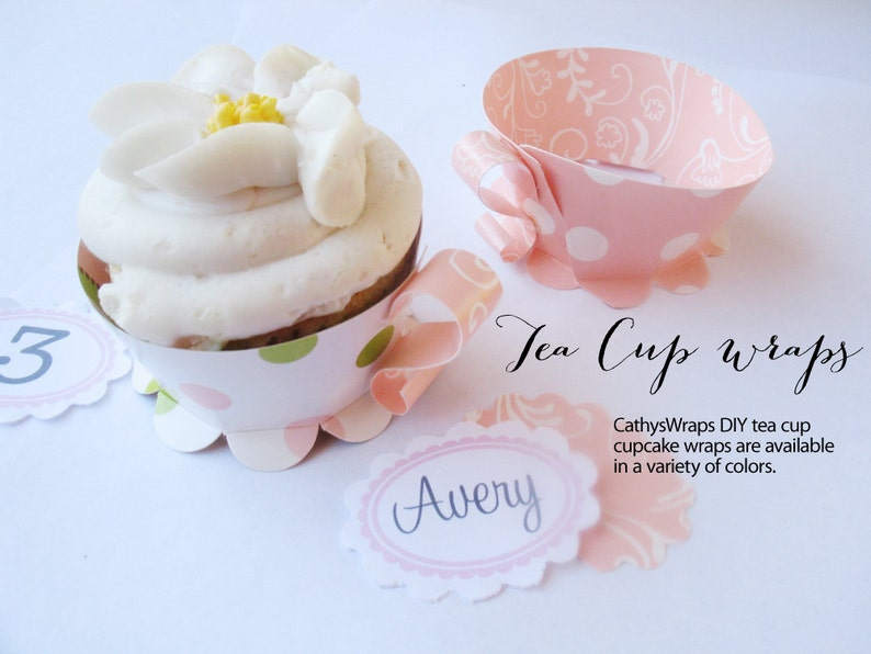 48 TEA CUP Cupcake Wraps  Tea Parties Polka Dot Damask image 0