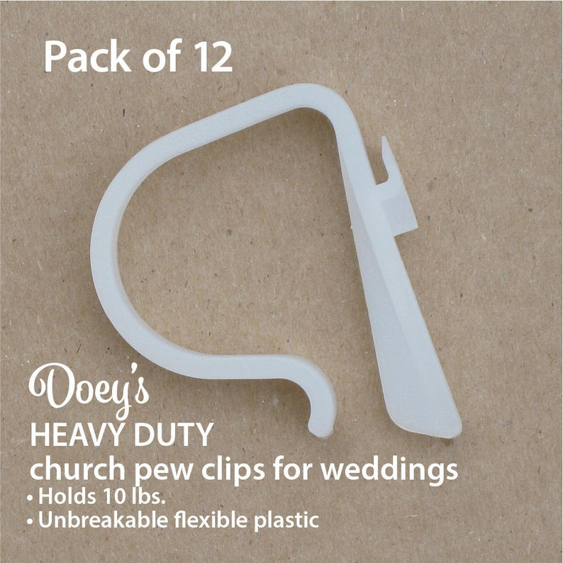 Wedding Pew Clips  Bow Flower Mason Jar hanger. Church pew image 0