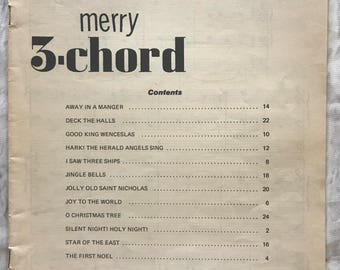 vintage 1962 merry 3 chord all organs music book sheet music collectible