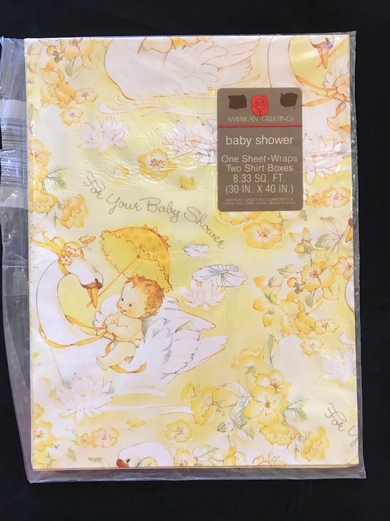 Vintage american greetings baby shower gift wrap nos etsy m4hsunfo