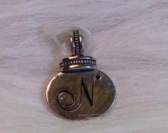 Silver Tone Initial N Slide Pendant