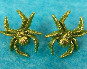 Green Glitter Spider Pierced Earrings, New, Gift