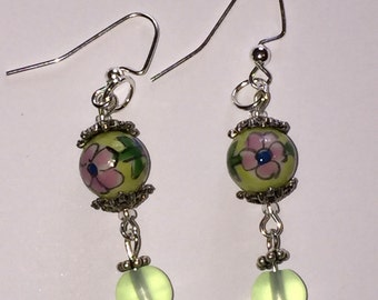 Green Beaded Floral Dangle Pierced Earrings