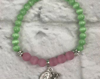 Rosary Pink And Green Beaded Stretch Bracelet New