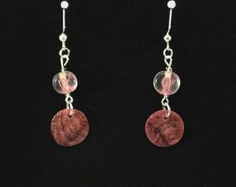 Breast Cancer Awareness Pink Ribbon Dangle Pierced Earrings