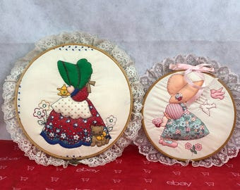Vintage Patchwork Sunbonnet Sue Wall Hangings, Set Of 2, Collectibles