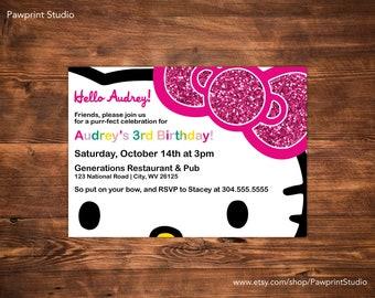 CUSTOM PRINTABLE Invitation: Hello Kitty Birthday Invitation (Customizable)