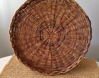 Large Flat Basket / Shallow Basket / Large Basket / Round Basket / Flat Basket & Round basket | Etsy
