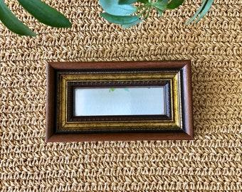 Tiny Rectangular Mirror / Framed Mirror / Vintage Mirror / Wood Framed Mirror