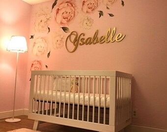 Gold Baby Girl Nursery Letters Wall Letters Wooden Letters For Nursery Wall  Decor Wooden Signs Large Kids Room Decor GLITTERED