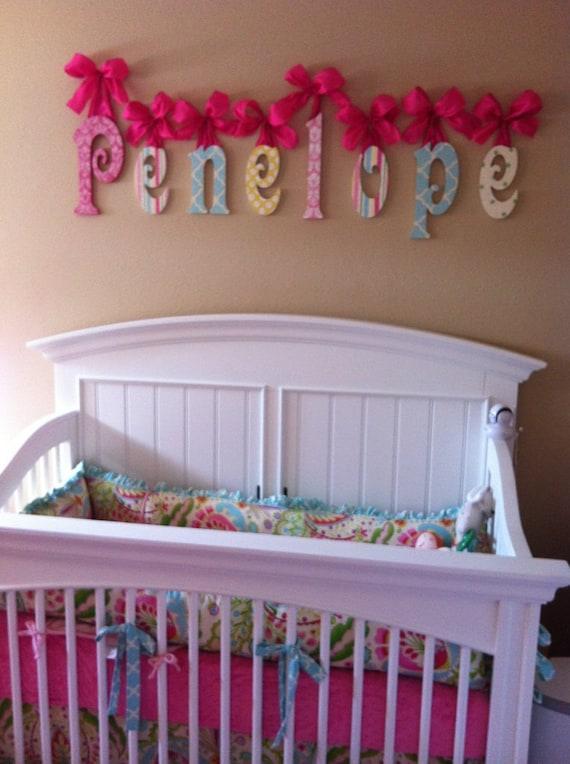 Nursery Name Sign Wooden Name Nursery Name Glittered Baby