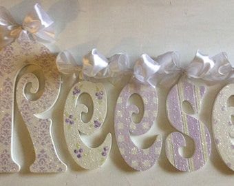 GLITTER wood wall letters childrens room decor wall hanging childrens accessorie lavender