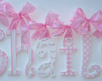 GLITTER and SPARKLE - Hand Painted - Custom Wooden Wall Letters