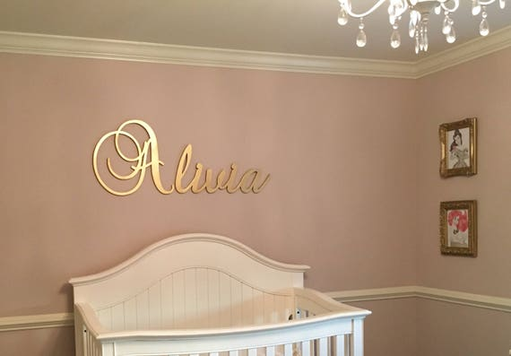Gold Nursery Name Sign Baby & Kids Nursery Decor Wall | Etsy