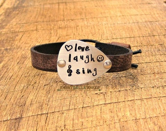 Love Laugh Sing Guitar Pick Leather Bracelet brown rocker girl concert chic festival fashion style ready music lover saying phrase quote