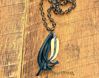 Feather with Pave Crystals and Leather Tassel Necklace festival ready fashion style rustic glam country girl glitz black long cord length