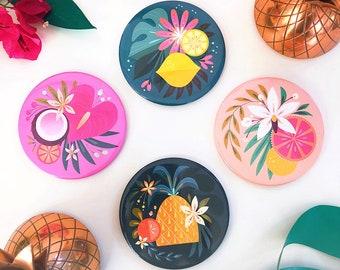 Fruity + Floral Cocktail Coaster Set of 4