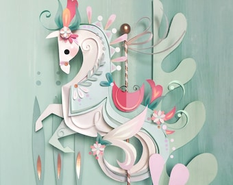 Carousel Seahorse Print