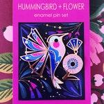 Hummingbird + Flower Enamel Pin Set