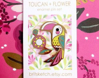 Toucan + Flower Enamel Pin Set