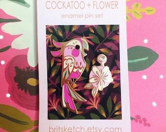 Cockatoo + Flower Enamel Pin Set