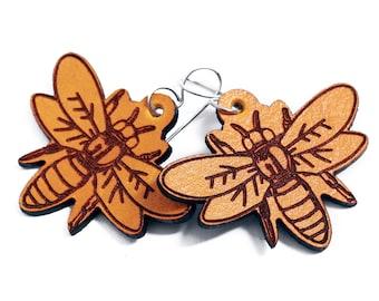 Bee Earrings - Leather Bumble Bee Earrings - Lightweight earrings - Honey bee earrings - insect jewelry - cute dangly earrings