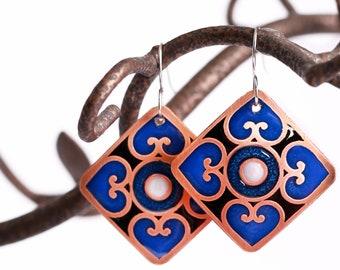 large statement filigree earrings antique copper, Vintage style blue boho dangle earrings, Ornamental iron design