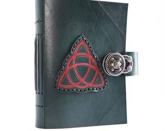 Spellbook, Book of shadows leather journal, trinity knot Celtic blank book, triquetra, Wicca journal, lined notebook