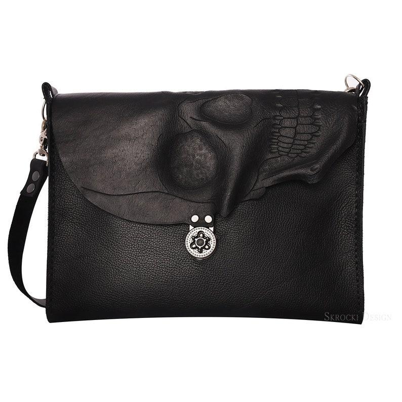 e309ee8b10 Skull messenger bag computer bag in brown or black leather