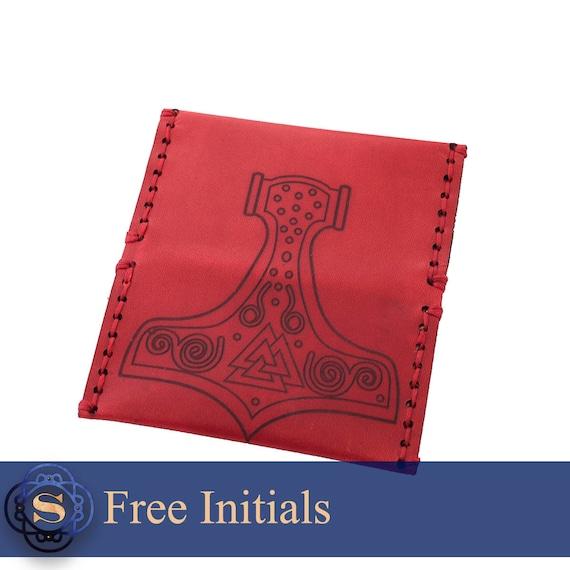 Thors Hammer Leder Kartenhalter Viking Herren Geldbörse Business Mann Geschenk Kundenspezifische Karten Etui Gravierte Kartenetui