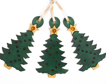 Leather Christmas Tree Ornaments set of 3 festive handmade and painted - customized Christmas ornaments - personalized Christmas ornaments