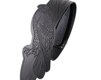 Hawk guitar strap, leather guitar strap, custom guitar strap, feathers, black guitar strap, folk guitar, bass strap, guitar gift, Bird gift