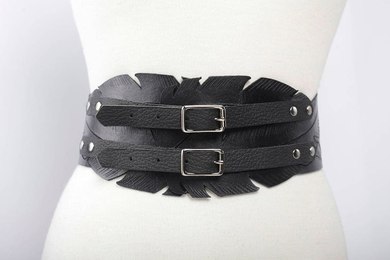 ce029aeaa4 Black leather feather belt two buckles custom made corset